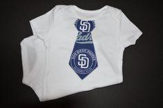 San Diego Padres Baseball Baby Tie Bodysuit or by BrikayDesigns