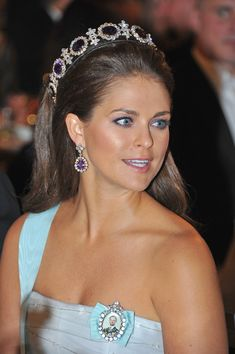 Princess Madeleine of Sweden wearing the Napoleonic Amethyst Tiara at the Nobel Banquet in Stockholm
