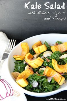 Kale Salad with Squash and Turnips | everylittlethingblog.com