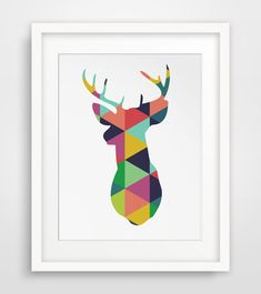 Deer Head Print Colorful Geometric Wall Art by MelindaWoodDesigns, $5.00