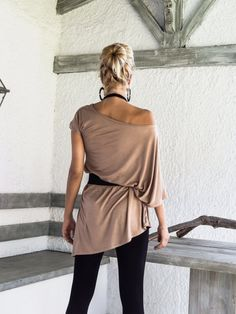 Taupe Asymmetric Dress  Blouse  Tunic / Plus Size Dress /