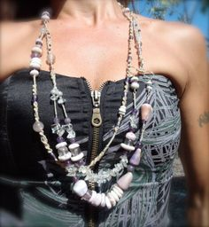 Beautiful Hawaiian Seashell Necklace. I love this Style, you can wear it so many ways. As always all shells were found on the Big Island of Hawaii on some remote Beach. Also as always, I most likely had bloody ankles for a week, getting pounded by waves to get shells! ;)