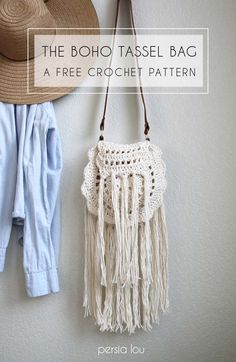 Crochet Patterns and Projects for Teens - Boho Tassel Crochet Bag - Best Free Patterns and Tutorials for Crocheting Cute DIY Gifts, Room Decor and Accessories - How To for Beginners - Learn How To Make a Headband, Scarf, Hat, Animals and Clothes DIY Projects and Crafts for Teenagers http://diyprojectsforteens.com/crochet-patterns-free