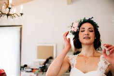 When the bride feels beautiful! These are the candid moments that we LOVE catching at weddings! Photo by: TGTB Collective Tacoma Seattle wedding photographer Lazy River Farm / boho bride / barn wedding / DIY / Floral crown / rustic