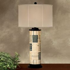 JB Hirsch J15234 Holmes Abstract Wooden Column Table Lamp