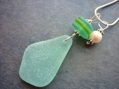 turquoise Sea Glass Necklace Beach Seaglass Jewelry Aqua Blue Teal Green Pendant Sterling Charm