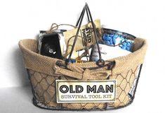 "Creative ""Try"" qua: Old Man Survival Tool Kit - Geschenke Old Man Birthday, Birthday Gag Gifts, Birthday Gift Baskets, 65th Birthday, Diy Birthday, 40th Birthday Ideas For Men Gift, Grandpa Birthday Gifts, Grandpa Gifts, Birthday Quotes"