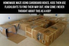 Who says kids can't enjoy life without an iPad? Here are some fun activities for kids with homemade cardboard box maze. I wish I had thought Birthday Star Wars, Birthday Games, 5th Birthday, Indoor Birthday, Ninja Birthday, Kids Moves, Projects For Kids, My Children, Future Children