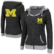 Michigan Wolverines Ladies Slope Full Zip Hoodie - Charcoal