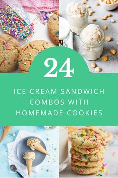 Find a new favorite flavor combination, with these 24 homemade ice cream sandwich recipes. These pairings combine a variety of cookies with ice cream to make the best and easiest ice cream sandwiches. Enjoy dessert with flavors like chocolate chip, peanut butter, black cherry, funfetti, birthday cake, lemon, cheesecake, almond, raspberry, and more. #icecreamsandwiches #icecreamrecipes #cookierecipes Homemade Ice Cream Sandwiches, Ice Cream Cookie Sandwich, Sandwich Cookies, Sandwich Recipes, Ice Cream Desserts, Frozen Desserts, Ice Cream Recipes, Frozen Treats, Salted Caramel Cookies