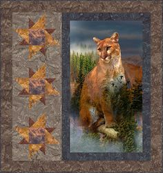 Your Free Quilt Pattern - Mountain Lion Pride Big Block Quilts, Modern Quilt Blocks, Mini Quilts, Quilting Projects, Quilting Designs, Quilt Design, Quilting Ideas, Peacock Quilt, Wildlife Quilts