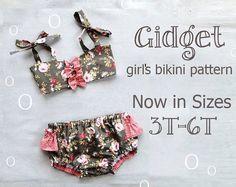 Gidget - Girls Bikini Sewing Pattern. Retro Swimsuit Pattern. Girl Sewing Pattern. Kids Swimwear Sizes 3,4,5,6