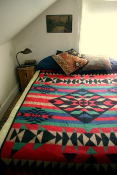 Vintage Pendleton Style Fleece Blanket I want that comforter! It even looks like my bedroom with the slanted ceiling. Dream Bedroom, Home Decor Bedroom, My New Room, Luxury Interior Design, Textiles, Apartment Living, Decoration, House Design, House Styles