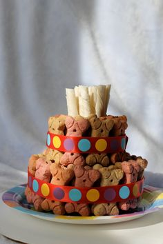 Dog Biscuit Birthday Cake -Getting ideas, my girl will be 3 this July