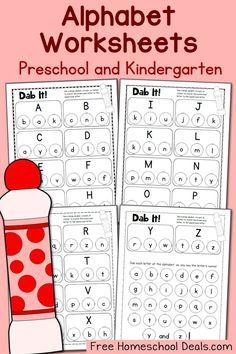 FREE Do a Dot Alphabet Worksheets for Preschool and Kindergarten Preschool Letters, Learning Letters, Preschool Kindergarten, Preschool Learning, Preschool Activities, Prek Literacy, Writing Letters, Preschool Writing, Alphabet Letters