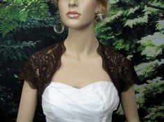 Brown cap sleeve bridal lace wedding bolero jacket by alexbridal