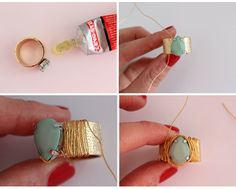 DIY - Jewel and Wire Wrapped Statement Ring - Jewelry From Home Blog