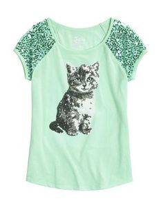 Sequin Kitty Graphic Tee