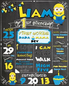 Chalkboard Sign Birthday Party Personalized; First Birthday; Minion; Despicable Me $15.00