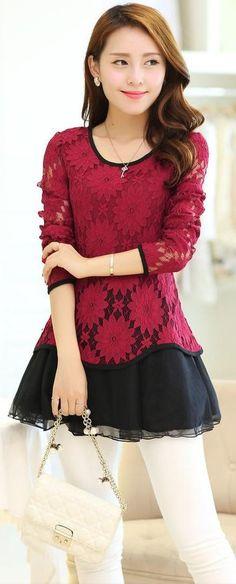 Korean lace top, korean tunic, korean lace tunic, long lace top, Chic Lace Tunic, elegant lace tops, lace Top, pink lace tunic, black lace blouse, beige lace tunic top, YRB, asian tunic tops, korean tunics UK chic, yrb0349, women new, arrivals