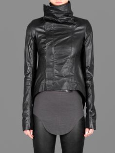 RICK OWENS NASKA BIKER JACKET WITH TWO OPEN POCKETS AND TALE DETAILS ON THE BACK Var: 	 Black Composition: 100% leather