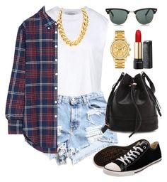 """~flannel~"" by xliesw ❤ liked on Polyvore featuring Valentino, Dukes, Band of Outsiders, Converse, Lacoste, Joie, Ray-Ban and Lancôme"