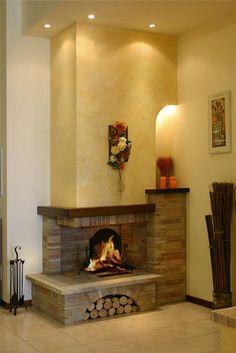 parete attrezzata cartongesso : Camini rustici, lavorazione artigianale con pietre, mattoni e legno ...