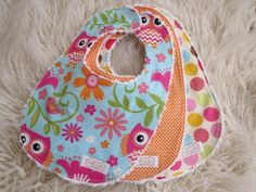 Owl Bib Set-Polka Dot Bib Set, Baby Girl Bib Set, Chenille Bibs
