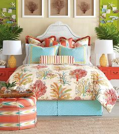 Discover more ways to relax with luxury bedding sets and bedding collections, offering the ultimate in designer style and comfort for your master bedroom or guestroom. Luxury Bedding Collections, Comforter Sets, Bedding Sets, Tropical Bedrooms, Luxury Bedding, Coastal Bedrooms, Custom Bed, Bed Linens Luxury, Home Decor