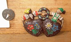 Vintage Hand Painted Celluloid Brooch Souvenir from Bavaria Germany