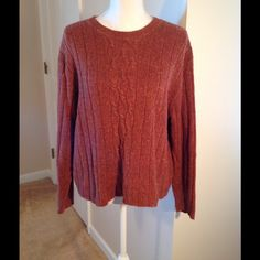 Kim Rogers Sport Long Sleeve Sweater.  Gorgeous. This is a beautiful colored sweater.  Can dress it up or down.  I call the color rust with other colors mixed in.  Machine washable.  55% ramie 15% wool 15% acrylic 15% nylon.  Long sleeve.  Comes just above the hip.  No picks or stains. Kim Rogers Sweaters Crew & Scoop Necks