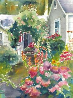 'Cottage Garden' the painting is beautiful but the blog has great décor ideas to follow up on and read later.
