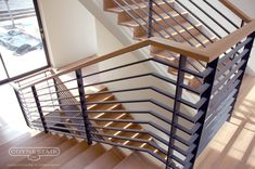 Flat Slats With Continuous Wood To Turn The Corner Stairs In 2019