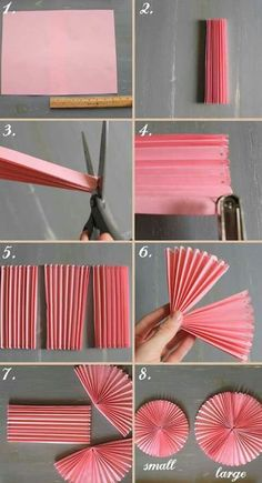 How to DIY Easy Beautiful Paper Rosettes – DIY Tutorials DIY Party decor Related DIY Basteln zum Valentinstag für Kinder - Lolly Brilliant Crafts To Make And Sell For Extra Cash. Diy Party Decorations, Paper Decorations, Diy Party Fans, Homemade Birthday Decorations, Paper Wall Decor, Diy Simple, Easy Diy, Fun Diy, Diy Paper