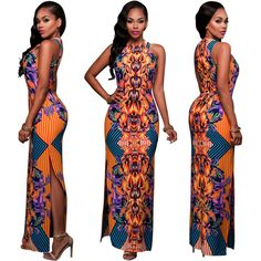 [$17.99] Women Summer Sexy Maxi Dress Slim Dashiki Retro Vestido Robe African Print Bodycon Party Dresses Casual Vintage Long Dress