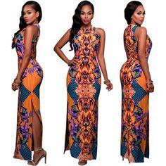 [$17.99] Women Summer Sexy Maxi Dress Slim Dashiki Retro Vestido Robe African Print Bodycon Party Dresses Casual Vintage Long Dress