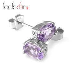 natural high quality 1.4ct amethyst earrings oval cut solid 925 sterling silver studs fashion purple wholesale