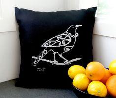 New Zealand tui cross stitch cushion. Website also includes other NZ native bird patterns. Cross Stitch Kits, Cross Stitch Charts, Cross Stitch Embroidery, Cross Stitch Patterns, Bird Patterns, Pdf Patterns, Cross Stitch Cushion, Blackwork Patterns, Nz Art