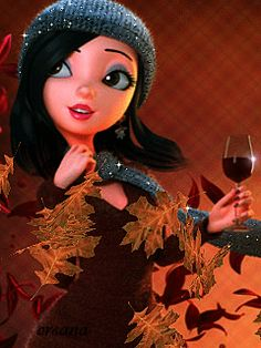 Gif girl drinking wine with fall leaves