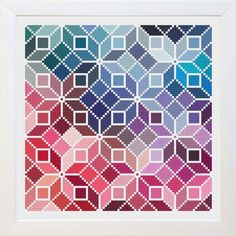 Counted Cross Stitch Rainbow Quilt Pattern by EmblemsDesign on Etsy… Cross Stitch Geometric, Modern Cross Stitch, Cross Stitch Kits, Counted Cross Stitch Patterns, Cross Stitch Designs, Cross Stitch Embroidery, Embroidery Patterns, Hand Embroidery, Quilt Patterns