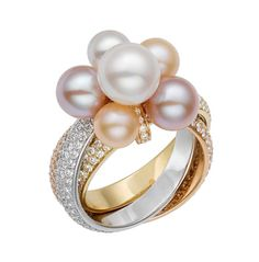 Cartier Trinity Pearls ring in white gold, pink gold and yellow gold, with pearls and diamonds (£POA).