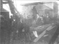 LEVANT MINE DISASTER (29 October 1919) | Cornwall: The day after the disaster. 'Something snapped - perhaps an iron cap or bolt - and what has been described as a living pillar of men, dropped down the man engine shaft, crushing many to death, mangling more with debris of breaking wood and metal - the beam of the man engine, the ladder ways in the side of the main shaft, and the platforms cut in the side of the shaft.' Among the dead - J. Vingoe Trembath, (25) single of Bojewyan.✫ღ⊰n