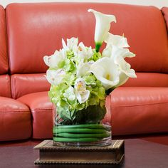 Real Touch Calla Lily Arrangement Hydrangea Arrangement with White Artificial Flowers Cymbidium Faux for Home Decor Centerpiece on Etsy, $113.00