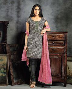 Black Cotton Churidar Salwar Kameez 79132
