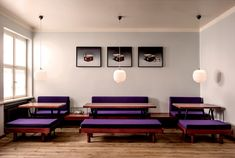 idea for dining room - deep purple and wood. // mogg & melzer delicatessen in Berlin