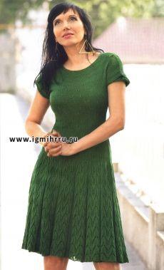 Зеленое летнее платье с узором «бабочка»