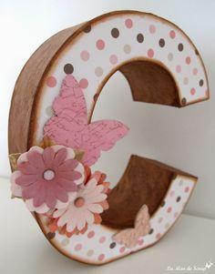 La Mar de Scrap: Letra C alterada Floral Letters, Wood Letters, Personalized Signs, Letter Art, Alphabet, Monogram, Scrapbook, Lettering, Crafty