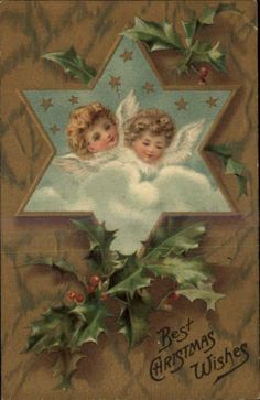 Christmas Angels Star of David Border Holly Berries Gilt Embossed c1910 PC