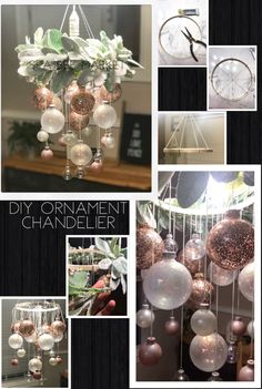 bubble kronleuchter DIY Christmas Ornament Bubble Chandelier - A beautiful, elegant Christmas Chandelier you can make at home using Christmas ornaments, thread, a - Christmas Balls Diy, Rose Gold Christmas Decorations, Easy Christmas Crafts, Diy Halloween Decorations, Simple Christmas, Christmas Wreaths, Christmas Chandelier Decor, Christmas Dining Table Decorations, Beautiful Christmas