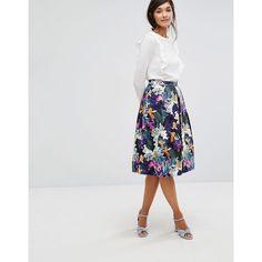 Oasis Tropical Print Midi Skater Skirt (4.710 RUB) ❤ liked on Polyvore featuring skirts, multi, knee length pleated skirt, high waisted midi skirt, midi circle skirt, flared midi skirt and high waisted knee length skirt